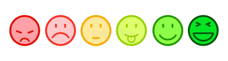 Sześć barwił smilies, ustawia smiley emocję, smilies, kreskówek emoticons - ilustracji