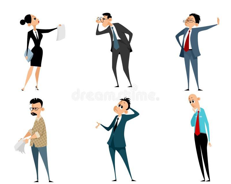 Sześć biznesmenów ustawiających royalty ilustracja
