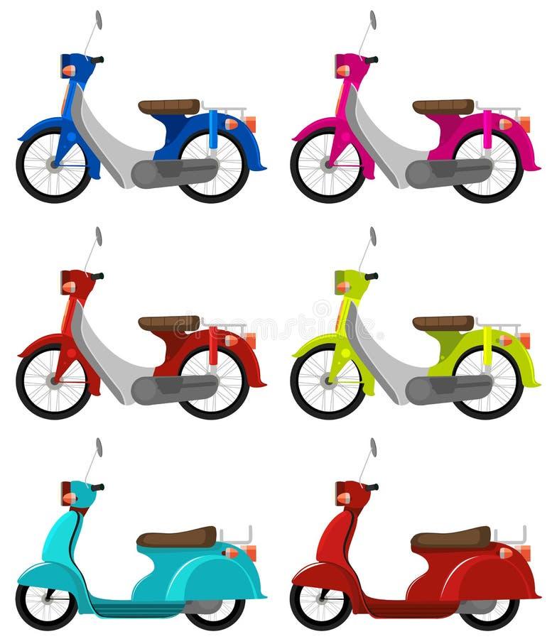 Sześć colourful hulajnoga ilustracji