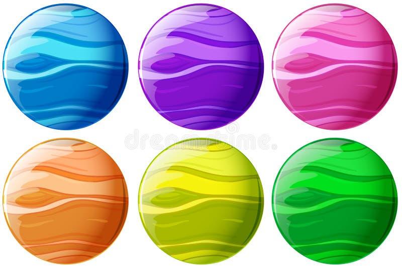 Sześć colourful piłek ilustracja wektor