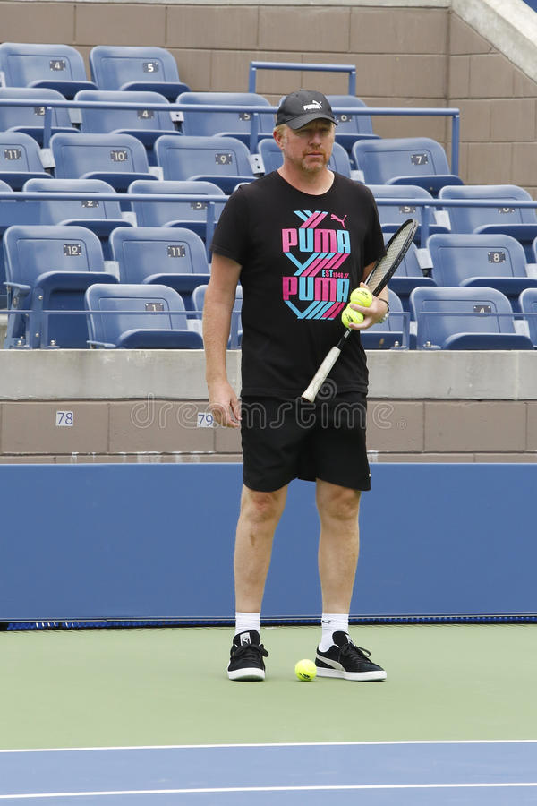 Sześć czasu wielkiego szlema mistrzów Boris Becker trenuje Novak Djokovic dla us open 2014 zdjęcie royalty free
