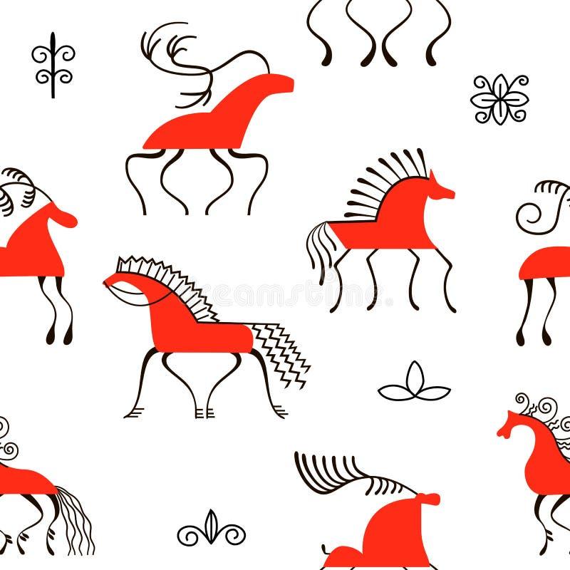 Sześć czerwonych koni bezszwowych wzorów Krajowi scandinavian obrazy Ludowi rękodzieła Czarowni oryginałów ornamenty royalty ilustracja