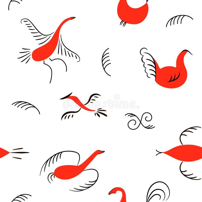 Sześć czerwonych ptaków bezszwowych wzorów Krajowi scandinavian obrazy Ludowi rękodzieła Czarowna oryginalna prostota ilustracja wektor