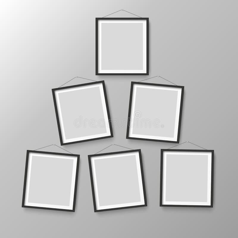 Sześć drewnianych czarnych fotografia obrazka ram ilustracja wektor