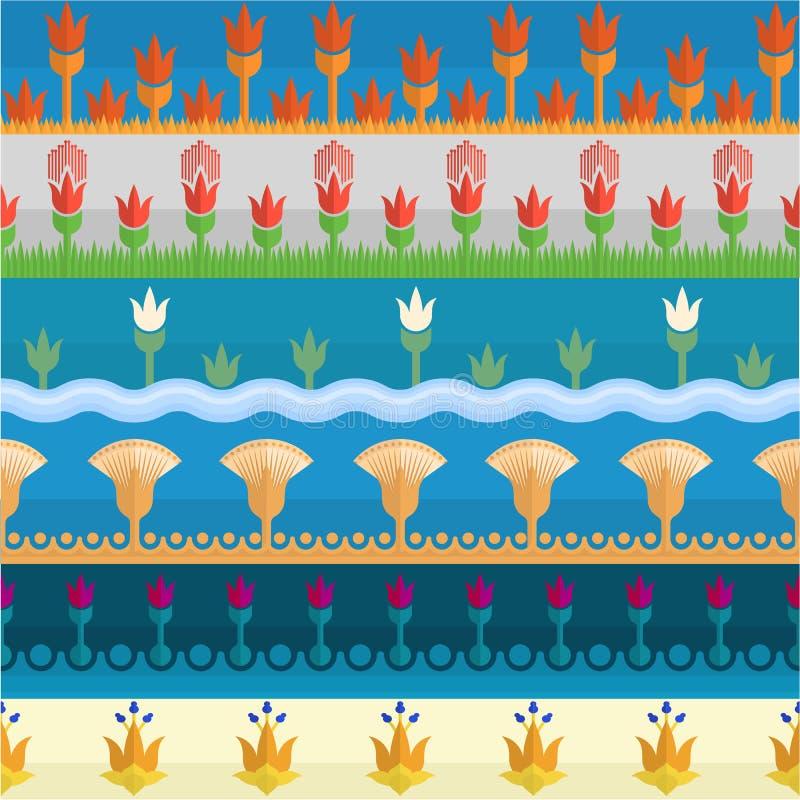 Sześć egipskich kwiatu stylu granic ilustracja wektor