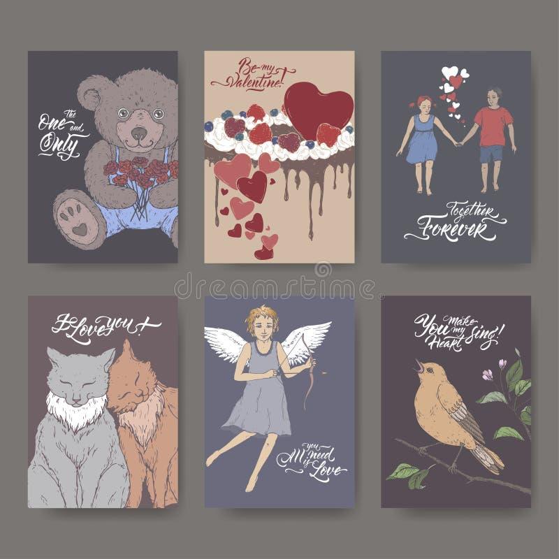 Sześć A4 formata koloru walentynki kart z misiem, tort, koty, amorek, chłopiec, dziewczyna, śpiewacki ptak i muśnięcia literowani ilustracja wektor