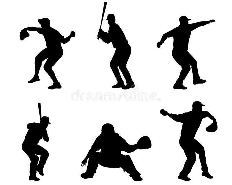 Sześć graczów baseballa sylwetek royalty ilustracja