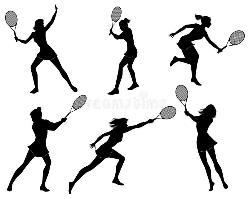 Sześć gracz w tenisa sylwetek ilustracja wektor