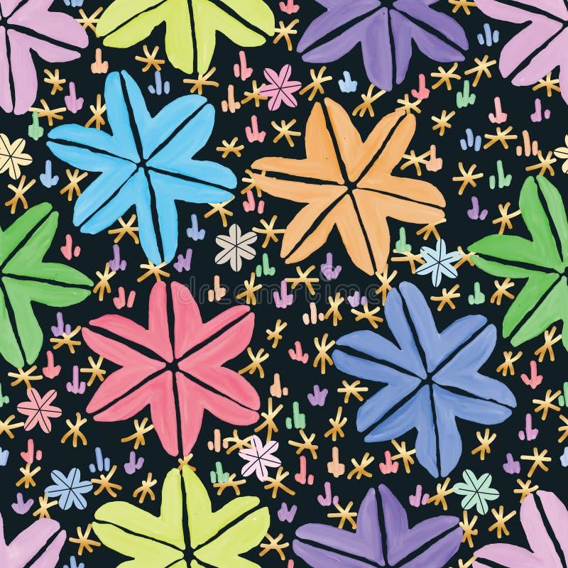 Sześć gwiazdowej liść traw Japonia stylu akwareli ciemnych bezszwowych wzorów ilustracja wektor
