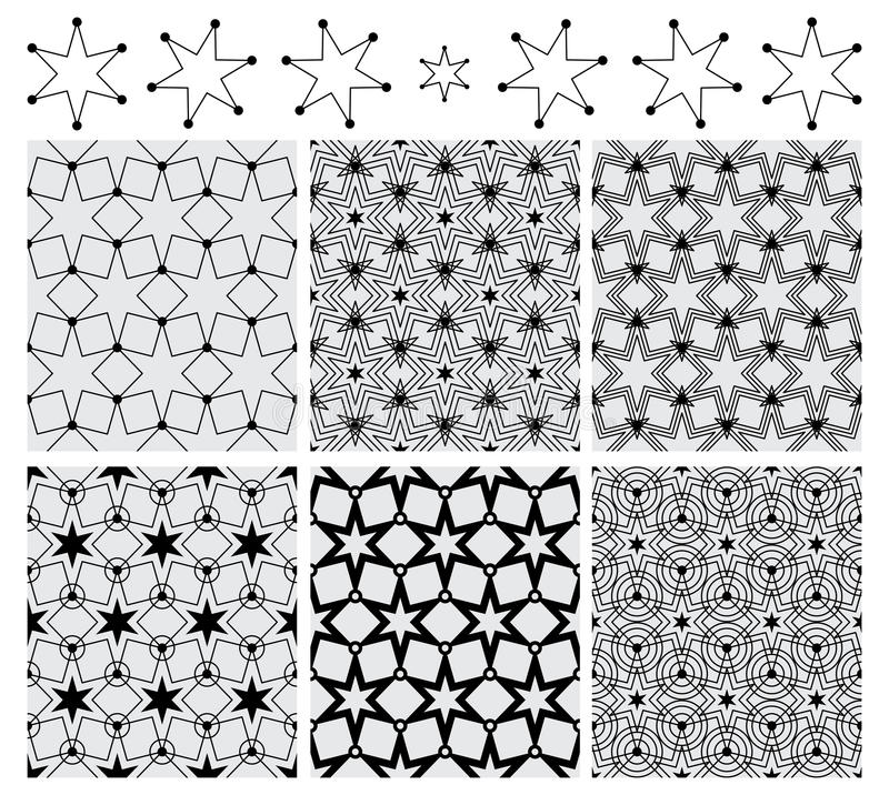 Sześć gwiazdowej okrąg symetrii ustalonych czarnych bezszwowych wzorów ilustracji