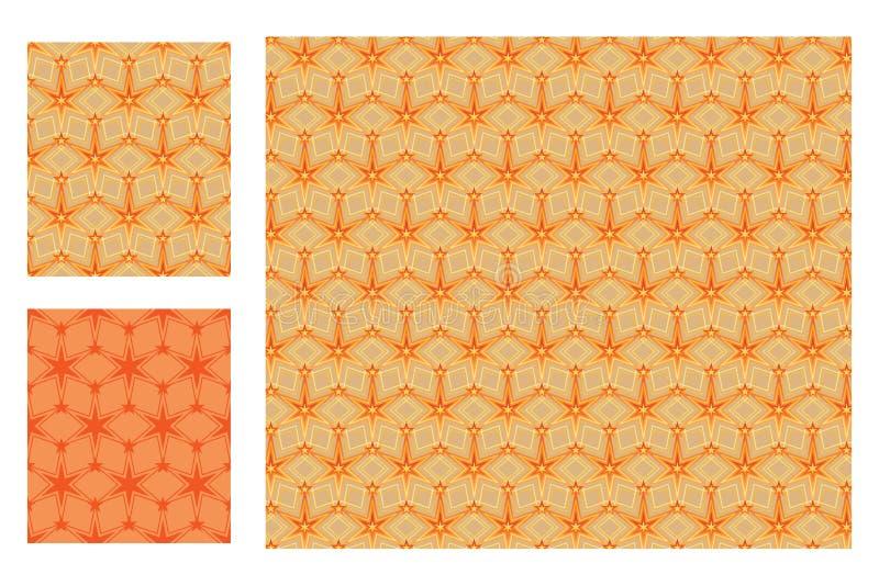 Sześć gwiazdy gwiazdowego symmtery pomarańczowych bezszwowych wzorów ilustracji