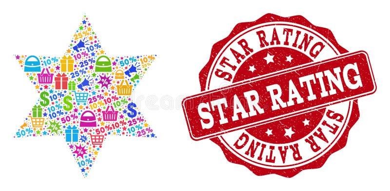 Sześć kątów Gwiazdowych składów mozaika i Textured znaczek dla sprzedaży ilustracja wektor