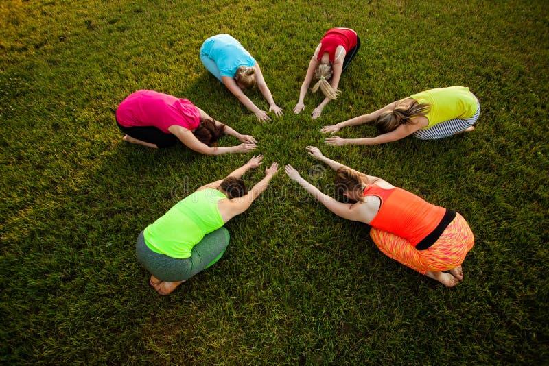 Sześć kobiet ćwiczy plenerowy joga zdjęcia stock