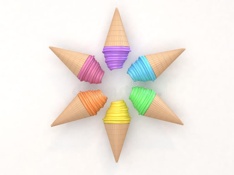 Sześć kolorowego abstrakcjonistycznego lody okręgu ustalonych składów na białym tle 3d odpłaca się kreskówka styl royalty ilustracja