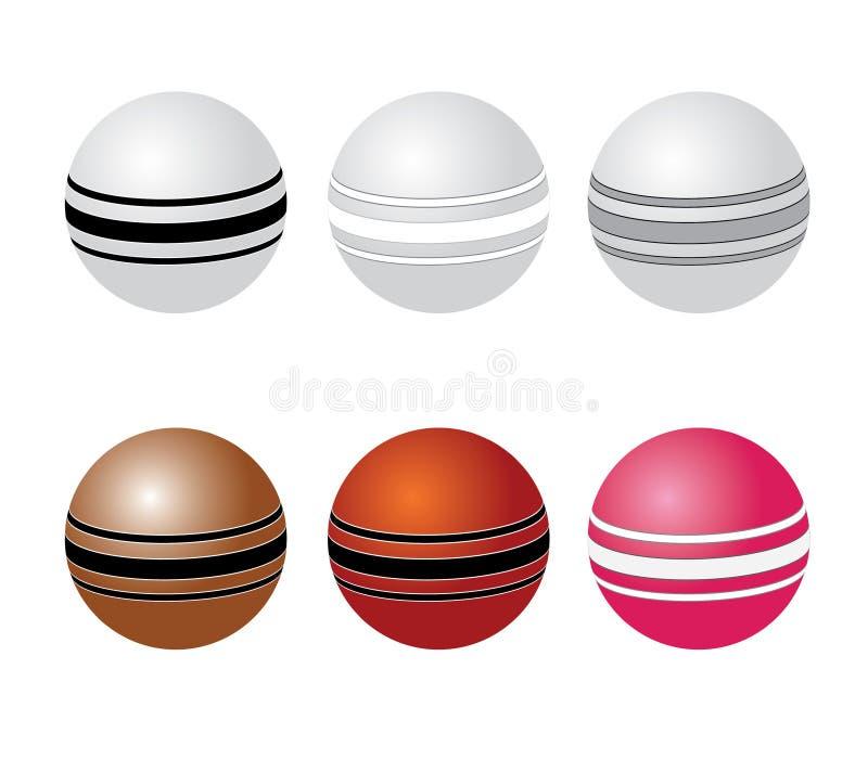Sześć kolorowych krykiet piłek dla zawody międzynarodowi dopasowania ilustracja wektor