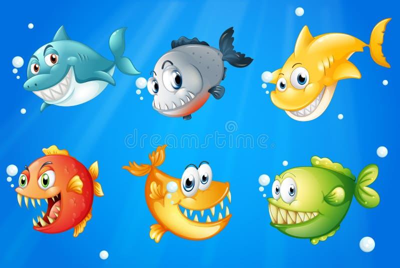 Sześć kolorowych ryba pod głębokim morzem ilustracja wektor