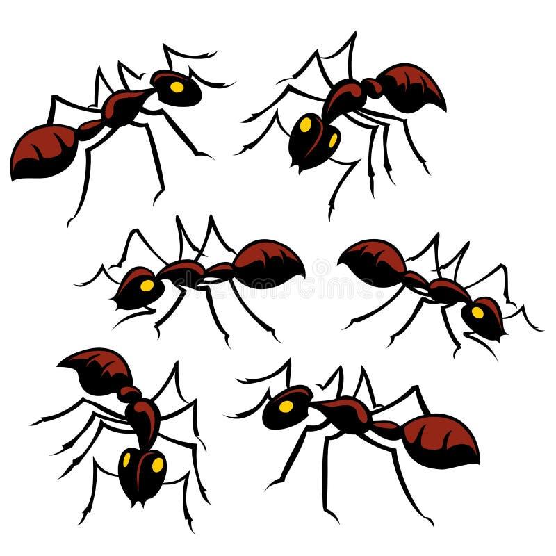 Sześć mrówek ilustracji