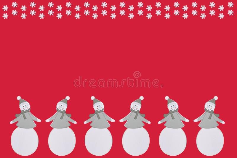 Sześć płatków śniegu i bałwany ilustracji