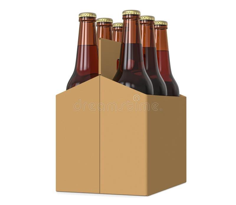 Sześć paczek szkło butelkował piwo w rodzajowej brown kartonowej przewoźnika 3d ilustraci na białym tle, ilustracja wektor