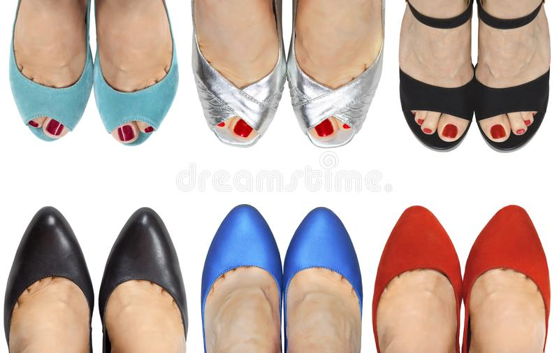 Sześć par nogi w butach i sandałach różni kolory zdjęcia royalty free