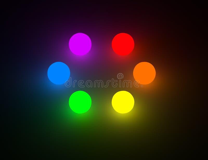 Sześć podstawowego koloru rozjarzonych piłek fotografia royalty free