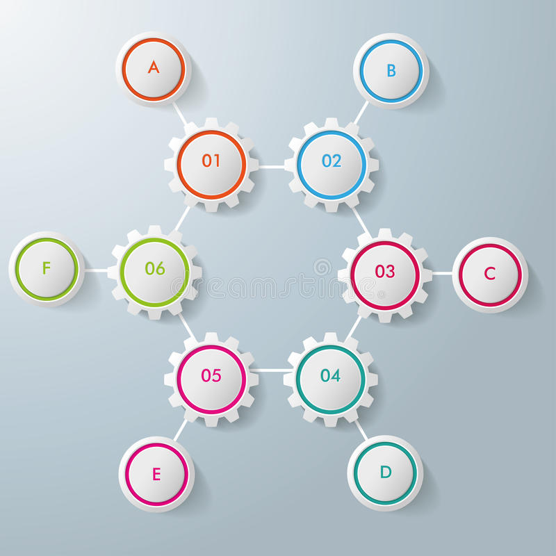 Sześć przekładnia sześciokąta Sześć okregów Infographic projektów royalty ilustracja