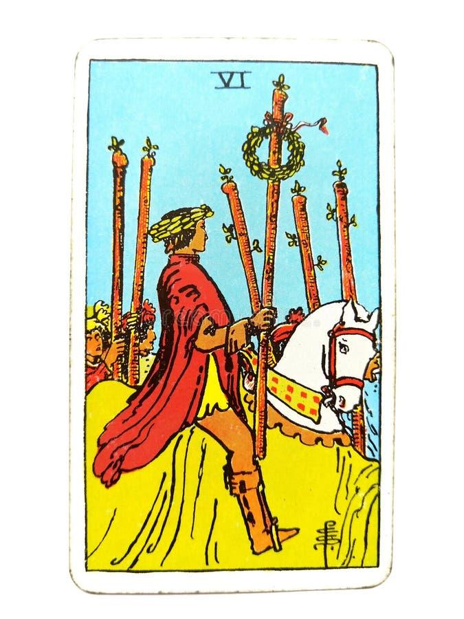 6 Sześć różdżki Tarot karty Tak sukcesu zwycięstwa Triumph nagroda za osiągnięcia Wygrywa Dużą wygranę ilustracji
