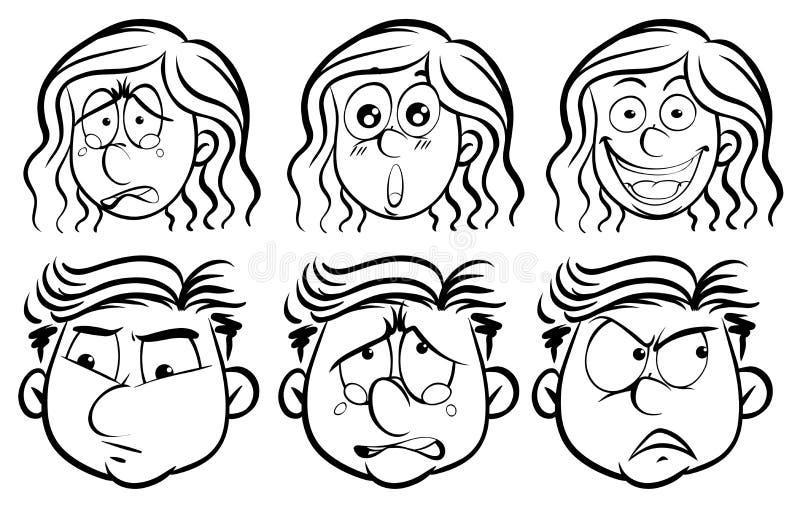 Sześć różnych emocj na twarzach ludzkich ilustracja wektor
