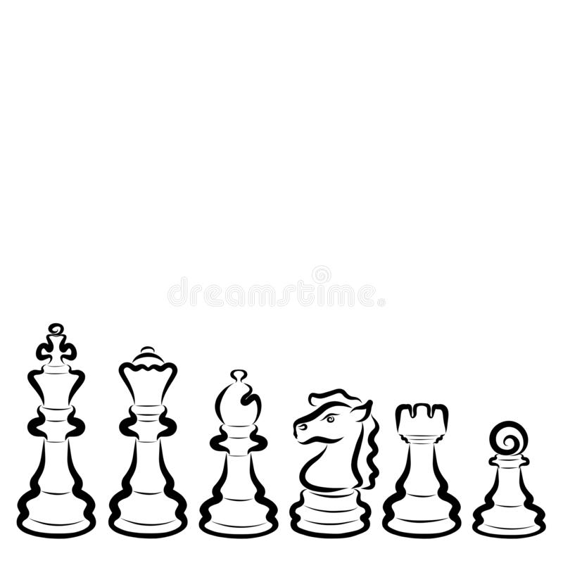 Sześć różnych szachowych kawałków, czarny kontur, set ilustracji