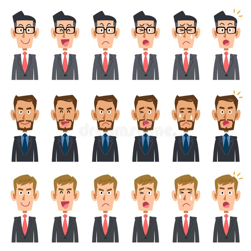 Sześć rodzajów wyrażenie trzy biznesmenów _2 ilustracja wektor