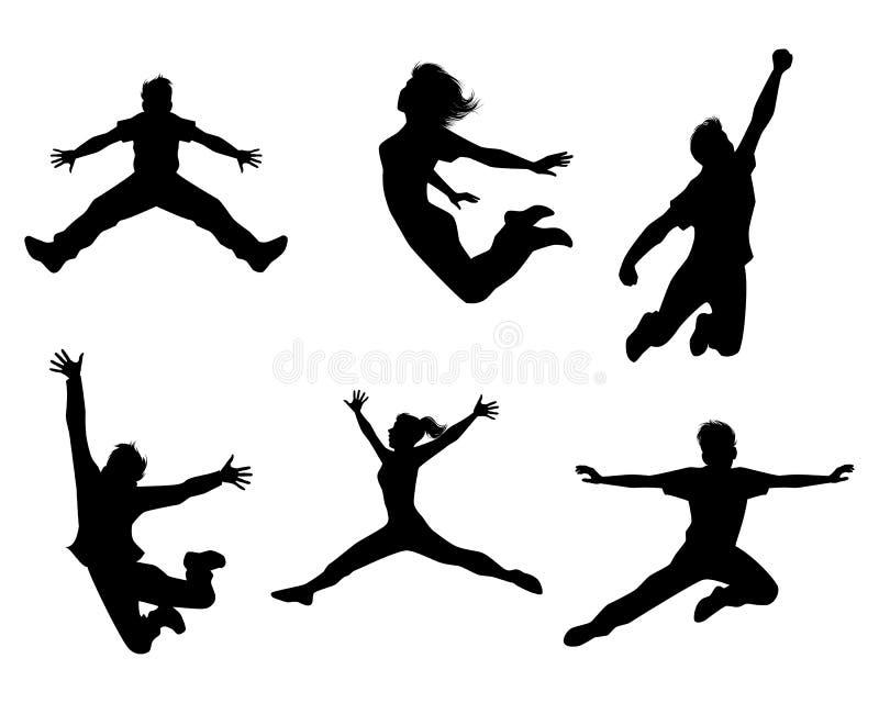 Sześć skokowych nastolatków ilustracja wektor