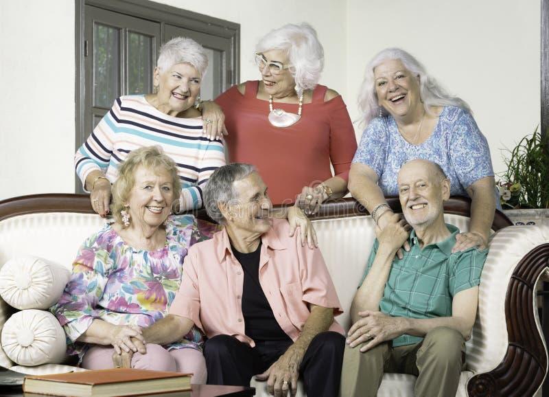Sześć Starszych przyjaciół Ma zabawę zdjęcie stock