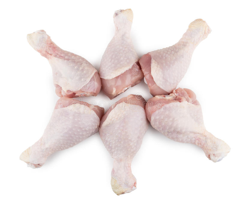 Sześć surowych kurczaków nóg na bielu zdjęcia royalty free