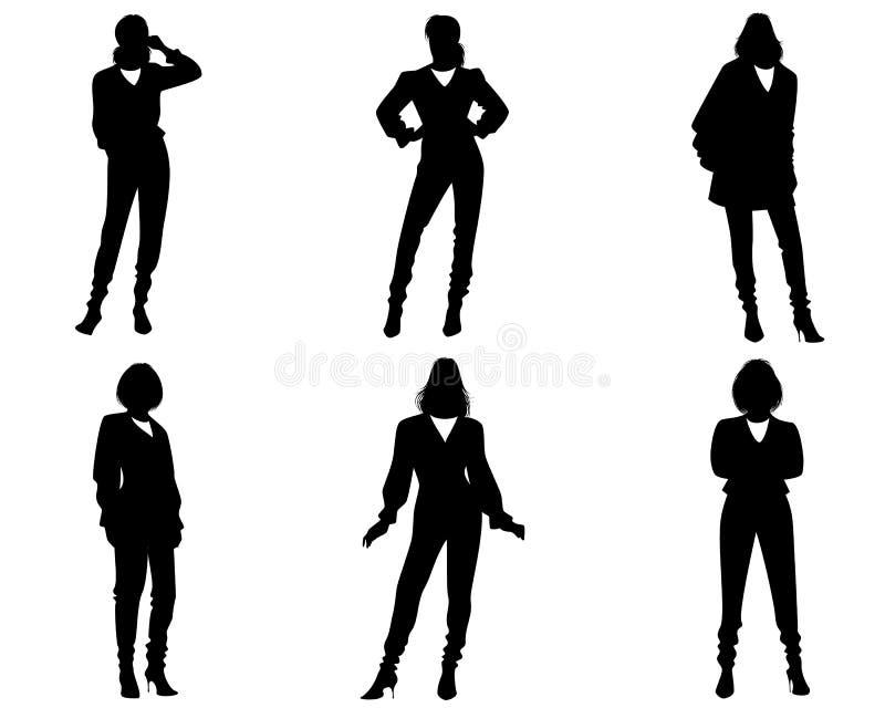 Sześć sylwetek nowożytne kobiety royalty ilustracja