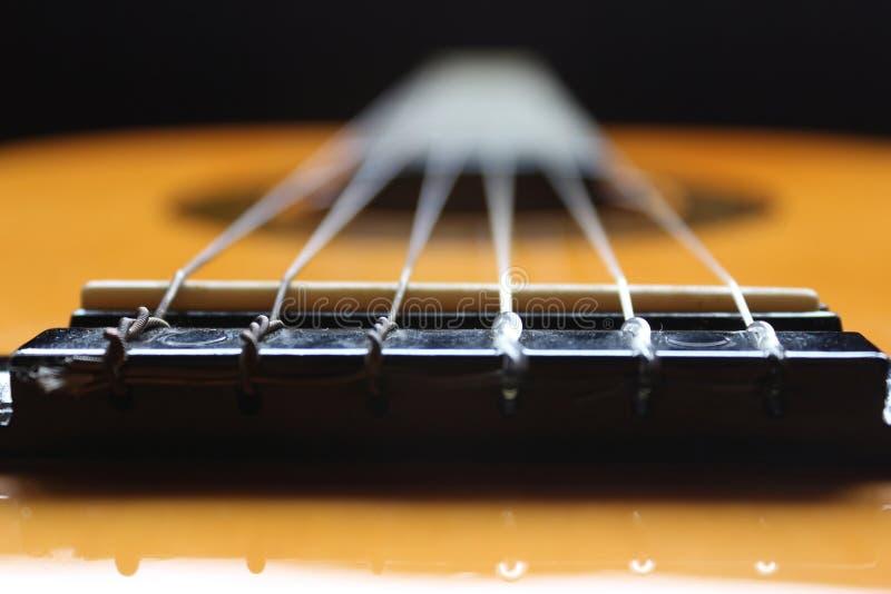 Sześć sznurków klasycznych gitar fotografia stock