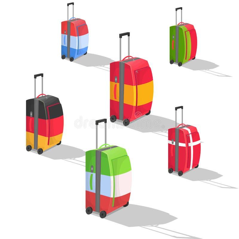 Download Sześć walizek z flaga ilustracja wektor. Ilustracja złożonej z podróż - 57653390