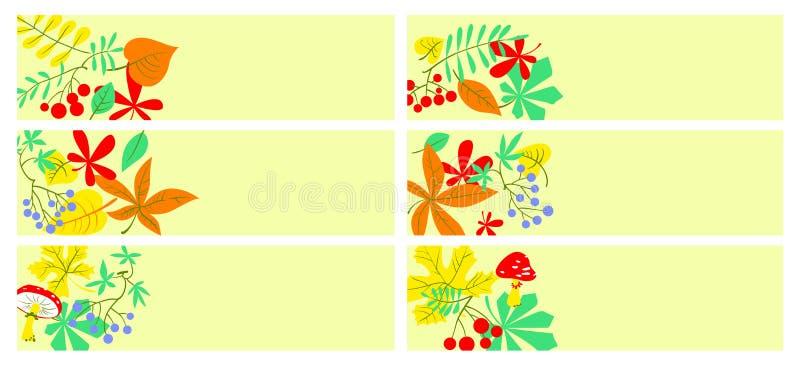 Sześć wektorowych kolorowych spadków sztandarów z liśćmi, jagodami i mushro, ilustracji