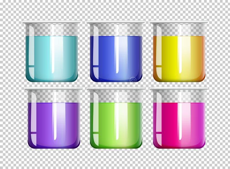 Sześć zlewek wypełniających z kolorowym cieczem ilustracja wektor