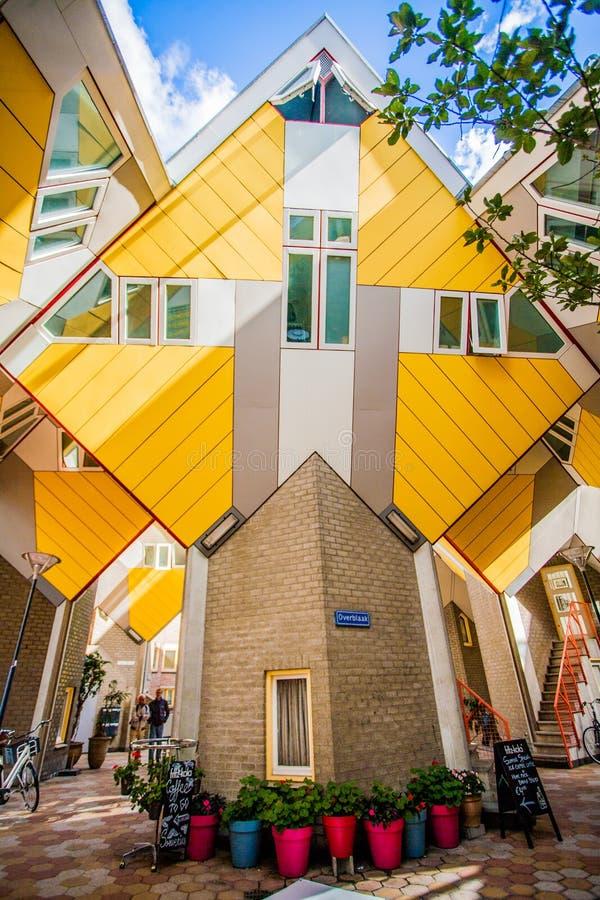 Sześcianów domy w Rotterdam z niebieskiego nieba tłem zdjęcia stock
