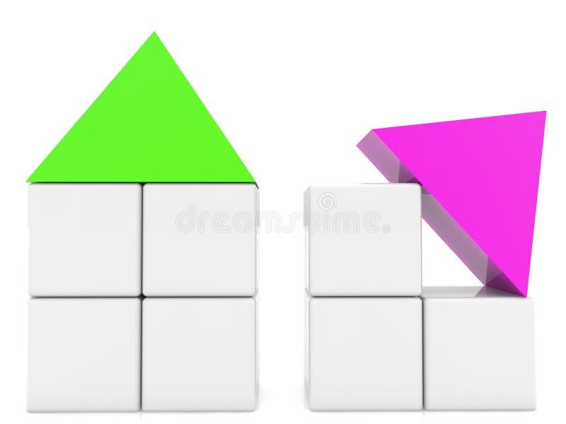Sześcianów domy z zieleni i purpur dachami ilustracji