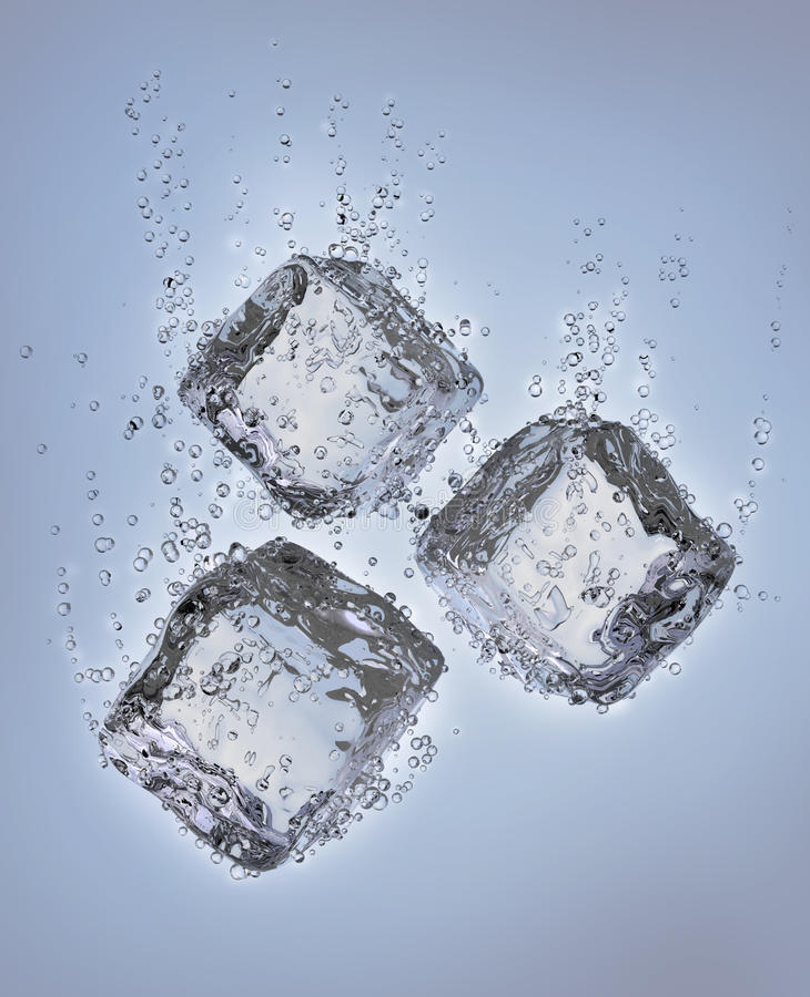 sześcianów spadek lodowa woda royalty ilustracja