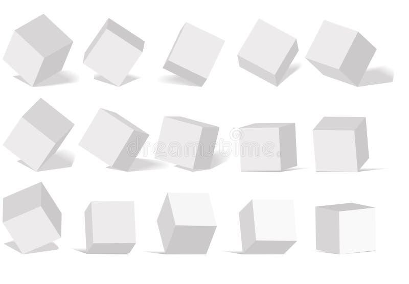 Sześcian ikona ustawiająca z perspektywą 3d model sześcian Odizolowywający dalej ilustracji