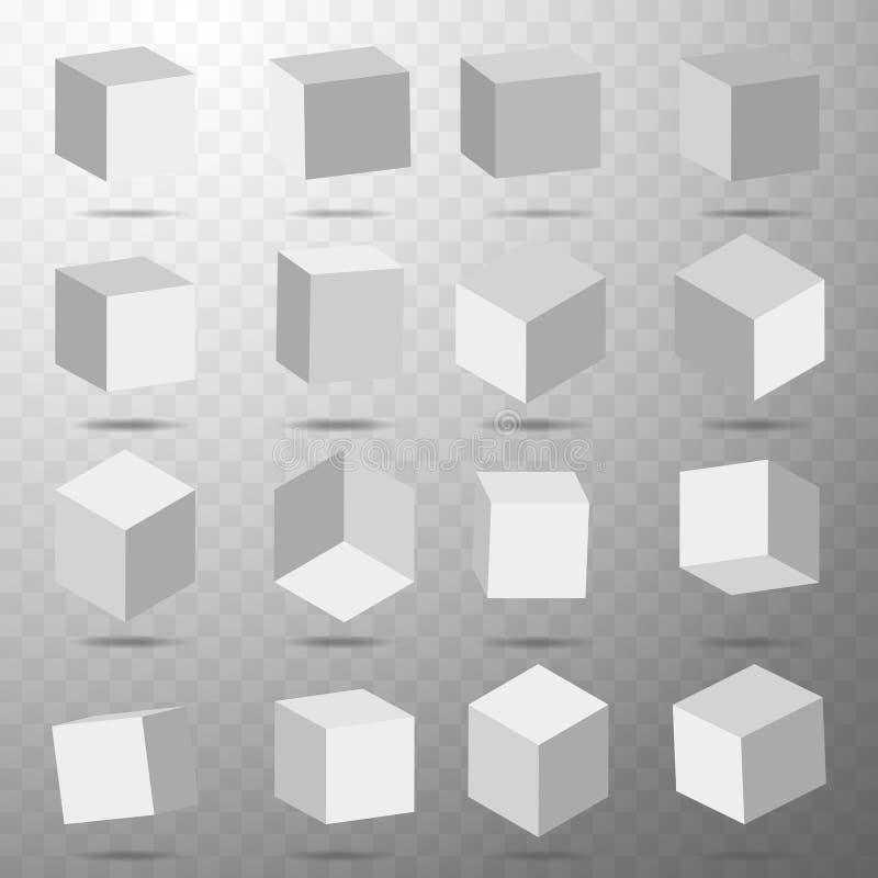 Sześcian ikona ustawiająca z perspektywą 3d model sześcian również zwrócić corel ilustracji wektora Odizolowywający na przejrzyst ilustracji