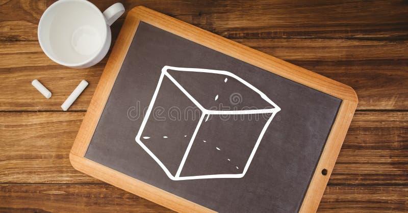 Sześcian na blackboard obrazy stock