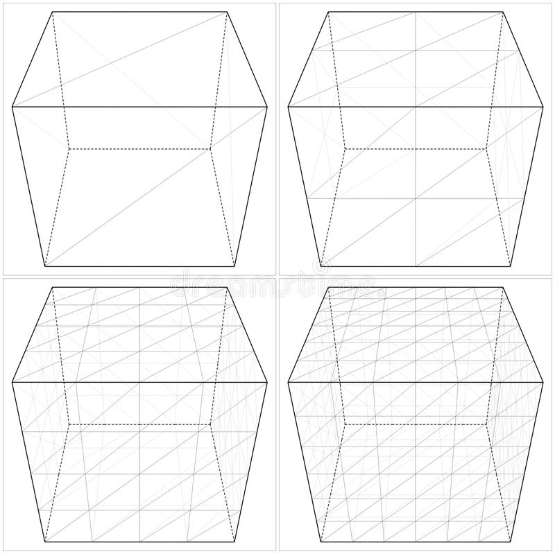 Sześcian Od Prostego Skomplikowany kształta wektor 04 royalty ilustracja