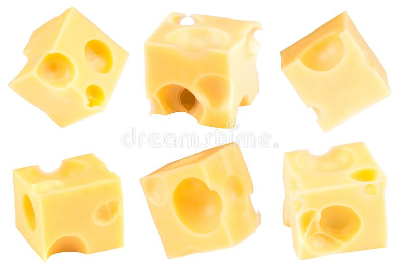 Sześcian odizolowywający na białym tle ser Kolekcja z zdjęcia stock