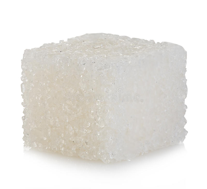 Sześcian odizolowywający na bielu cukier zdjęcia stock