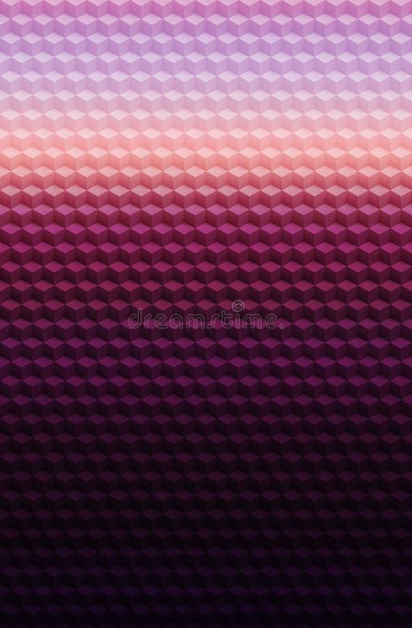 Sześcian purpur menchii geometrycznego 3D wzoru abstrakcjonistyczny tło, mozaika szablon ilustracji