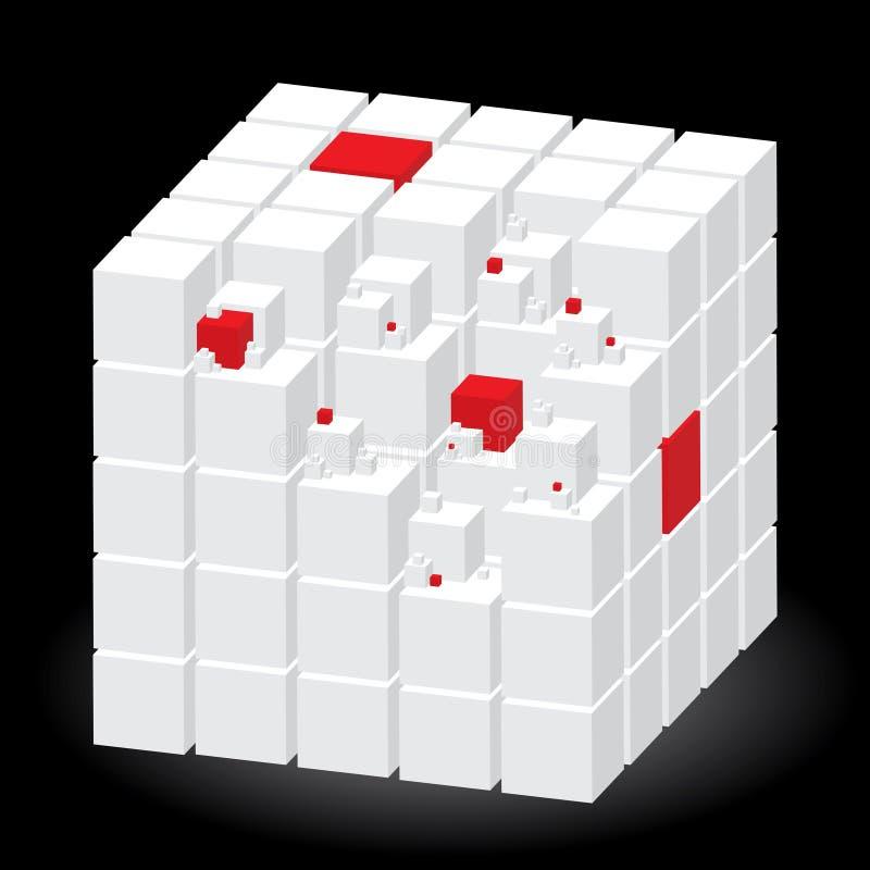 sześcian rozdzielać czerwonego biel ilustracji