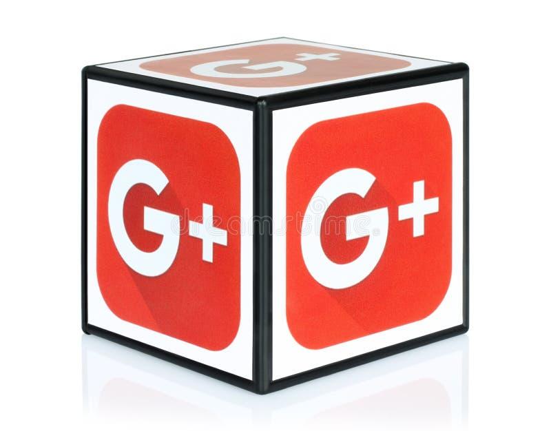 Sześcian z Google Plus ikony ilustracja wektor